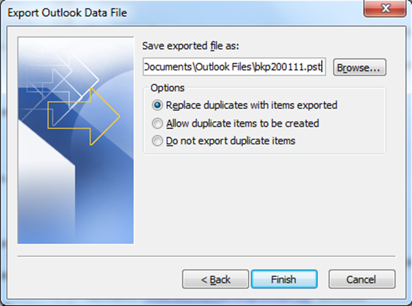 outlook backup and restore steps