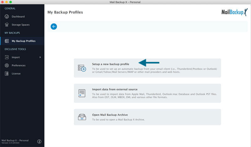 Setting Outlook Mac Backup on macOS from Left side Bar Menu in Mail Backup X