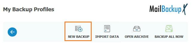 Adding New Mail Backup Profile