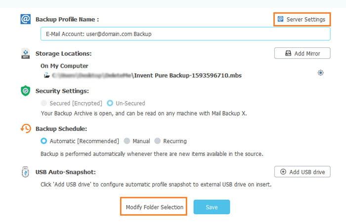 Modify Folder Selection Server Settings Mail Backup Profile
